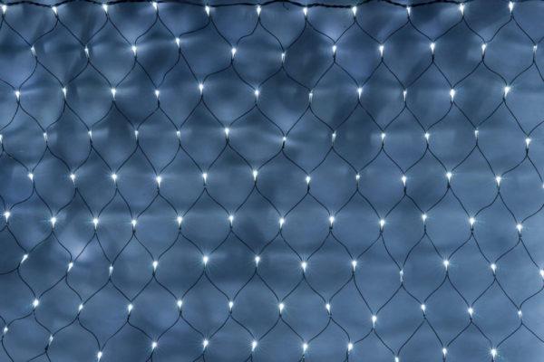 Гирлянда-сеть 2х1,5м, черный ПВХ провод, постоянное свечение, белая 1