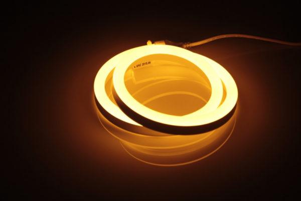 Леднеон флекс, 12х25мм, 120 led/m, бухта 50м, кратность резки 1метр, желтый