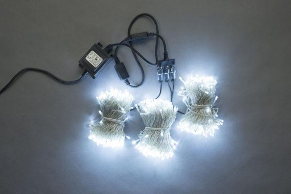 Гирлянда-спайдер Flash 3х20м, 600LED, прозрачный провод, белый/белый флэш 1