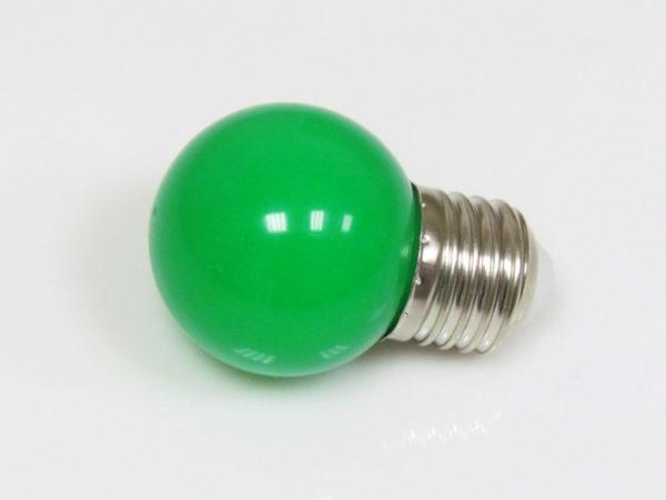 LED лампа - шарик с цоколем E27, 45 мм, (5 светодиодов), матовые, зелёный 1