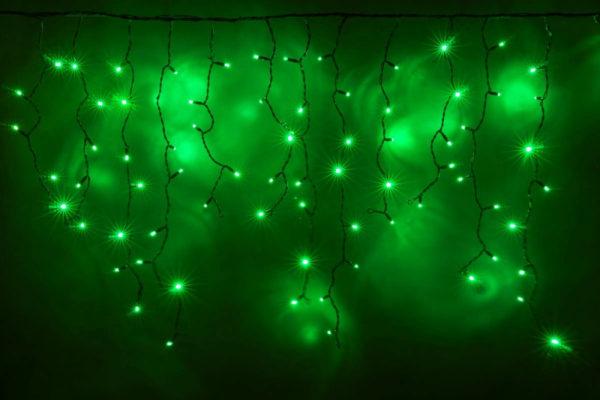 Гирлянда Айсикл 3,2 х 0,8 м, черный провод ПВХ, свечение зеленое/мерцание зеленое