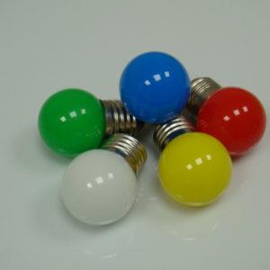 LED лампа — шарик с цоколем E27, 40 мм, (5 светодиодов), матовые, зеленый