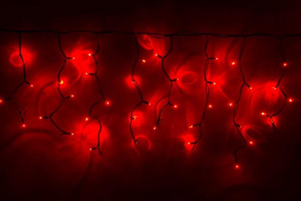 Гирлянда Айсикл 4,8 х 0,6 м, черный провод КАУЧУК, свечение красное (без силового шнура)