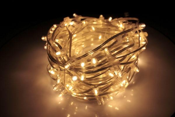 LED клип-лайт Flash, длина 100М без трансформатора, тёплый белый, прозрачный провод  (с насадкой-колпачек)