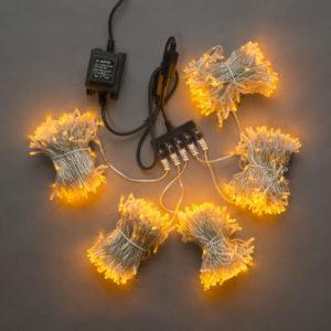 Гирлянда-спайдер Flash 5х20м, 1000LED, прозрачный провод, желтый/желтый флэш