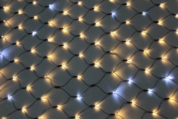 Гирлянда-сеть 2х4м, черный ПВХ провод, с мерцанием, тепло-белая (белый флэш) 1