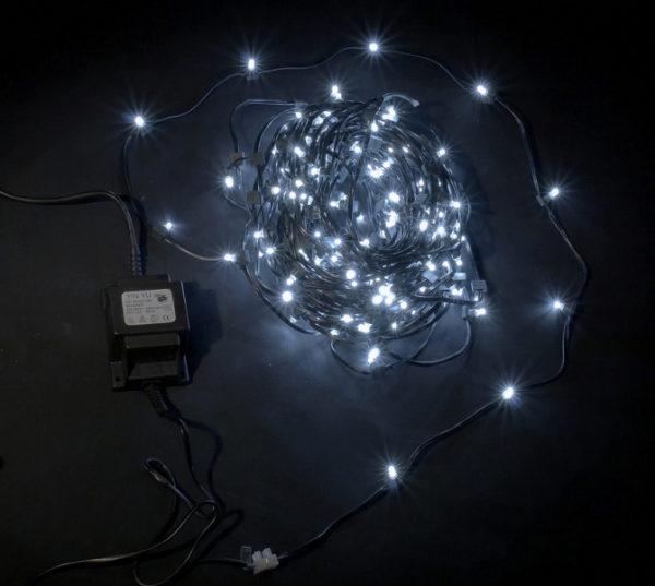 LED клип-лайт, длина 100М без трансформатора, белый, темно-зеленый провод