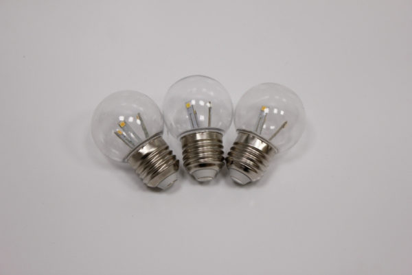 E27 BULB-6 SMD-240V-WW, G45, 6 SMD, прозрачная колба, теплый белый