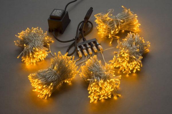 Гирлянда-спайдер Flash 5х20м, 1000LED, прозрачный провод, желтый/желтый флэш 1