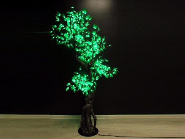 Дерево зеленые листья, 5 ветвей, 648LED, 1,0х1,8м