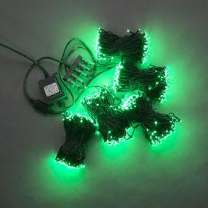 Гирлянда-спайдер 5х20м, 1000LED, черный провод, зеленый