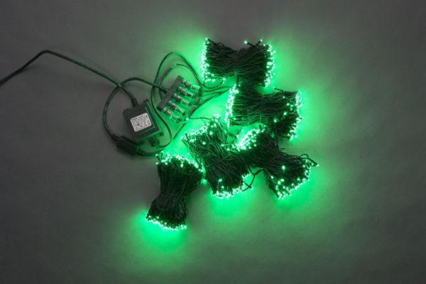 Гирлянда-спайдер 5х20м, 1000LED, черный провод, зеленый 1