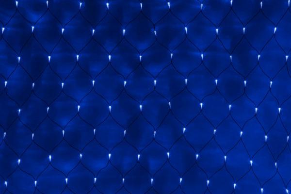Гирлянда-сеть 2х1,5м, черный ПВХ провод, постоянное свечение, синяя