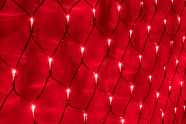 Гирлянда-сеть 2х1,5м, черный ПВХ провод, постоянное свечение, красная 1