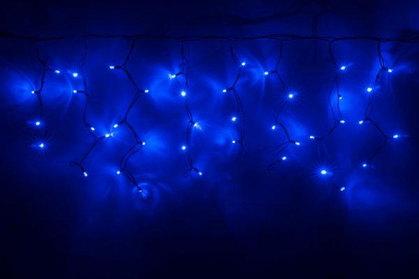 Гирлянда Айсикл 4,8 х 0,6 м, черный провод КАУЧУК, свечение синее