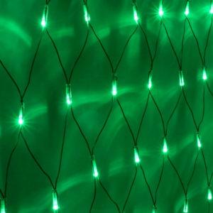 Гирлянда-сеть 2х1,5м, черный ПВХ провод, постоянное свечение, зеленая