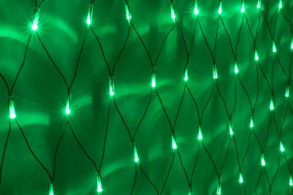 Гирлянда-сеть 2х1,5м, черный ПВХ провод, постоянное свечение, зеленая 1