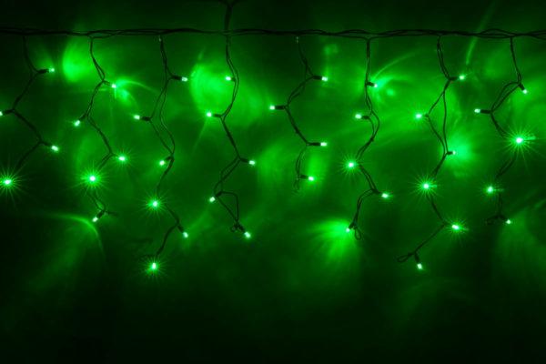 Гирлянда Айсикл 4,8 х 0,6 м, МЕРЦАЮЩАЯ, черный провод КАУЧУК, свечение зеленое/мерцание зеленое