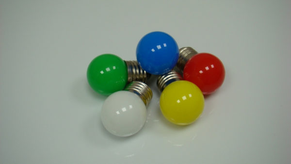 LED лампа - шарик с цоколем E27, 40 мм, (5 светодиодов), матовые, красный 1