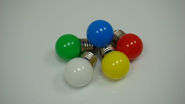 LED лампа - шарик с цоколем E27, 40 мм, (5 светодиодов), матовые, синий 1