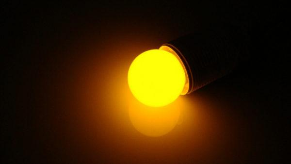 LED лампа - шарик с цоколем E27, 40 мм, (5 светодиодов), матовые, желтый
