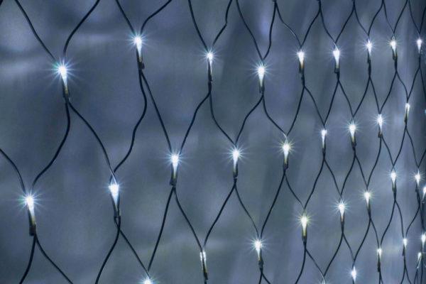 Гирлянда-сеть 2х4м, черный ПВХ провод, постоянное свечение, белая 1