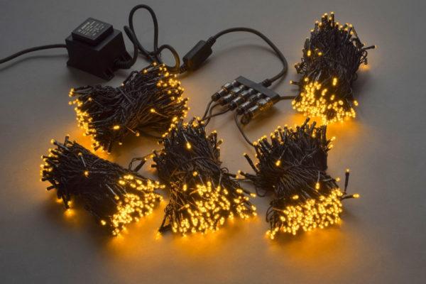 Гирлянда-спайдер 5х20м, 1000LED, черный провод, желтый 1
