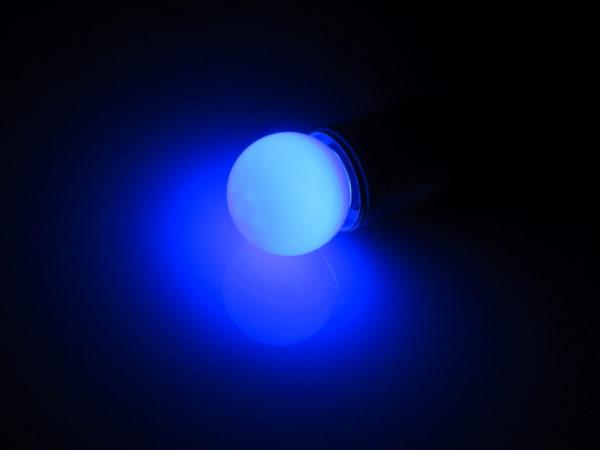 LED лампа - шарик с цоколем E27, 45 мм, (5 светодиодов), матовые, синий 1