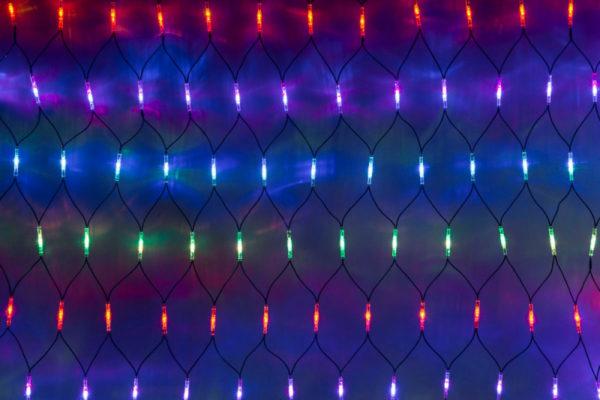 Гирлянда-сеть 2х1,5м, черный КАУЧУКОВЫЙ провод, свечение с динамикой, мульти