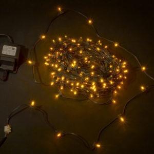 LED клип-лайт, длина 100М без трансформатора, желтый, темно-зеленый провод