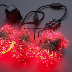 Гирлянда-спайдер Flash 3х20м, 600LED, прозрачный провод, красный/красный флэш