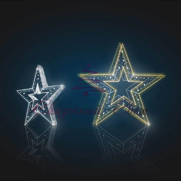 Световая объемная композиция Звезда 3D GR 08-1 - Ш 1,50 м х В 1,50 м х Г 0,40 м 1