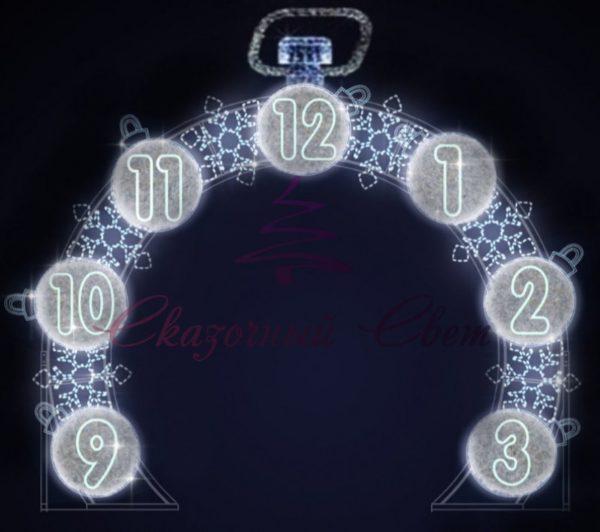 Светодиодная арка Часы В 4,0 м х Ш 4,0 м х Г 0,2 м - 3D GR 101-i31 1
