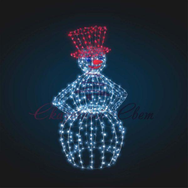 Светодиодный Снеговик 3D GR 19-1 - Ш 1,40 м х В 2,10 м х Г 1,00 м 1