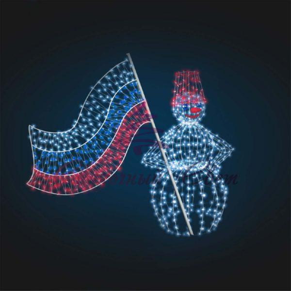 Новогодняя композиция Снеговик с флагом В 2,1 м х Ш 3,0 м х Г 1,5 м - 3D GR 19-2 1