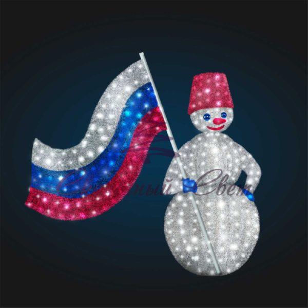 Новогодняя композиция Снеговик с флагом (в мишуре) 3D GR 19-3 - Ш 3,00 м х В 2,10 м х Г 1,50 м 1
