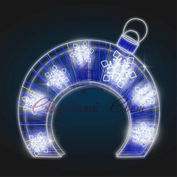 Световая арка Елочная игрушка со снежинками В 4,0 м х Ш 4,0 м х Г 1,0 м - 3D GR 24-2 1