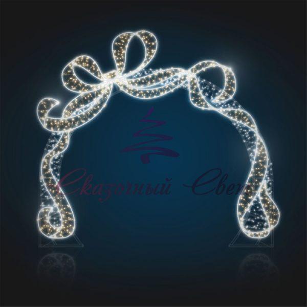 Светящаяся новогодняя арка с подарочной лентой (плоская) В 5,2 м х Ш 4,8 м х Г 0,1 м - 3D GR 29 1