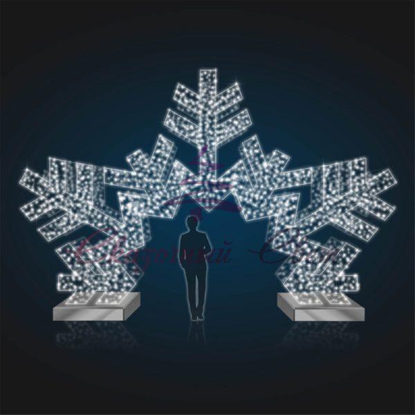 Арка снежинка В 4,0 м х Ш 6,0 м - 3D GR 309 1