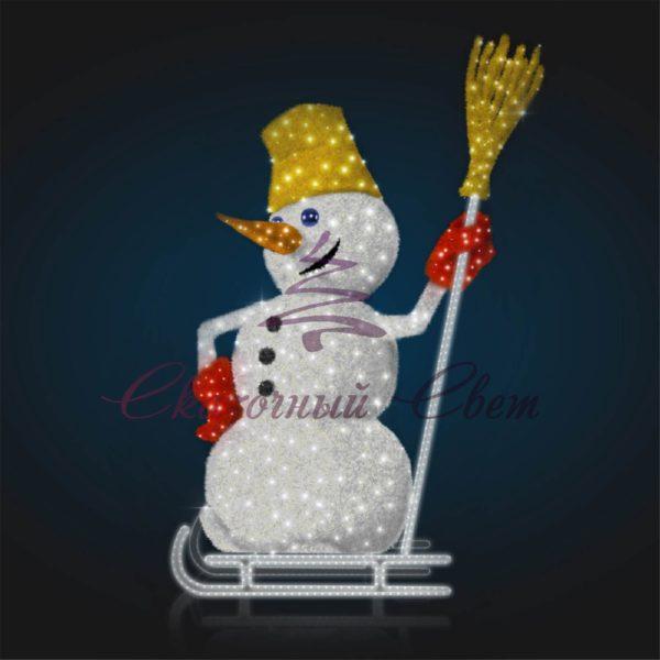 Фигура Снеговик на санках В 2,8 м х Ш 1,8 м х Г 1,0 м - 3D GR 317 1