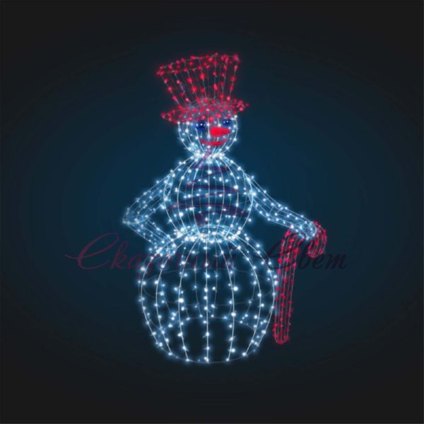 Снеговик в шляпе В 2,1 м х Ш 1,4 м х Г 1,0 м - 3D GR 333 1