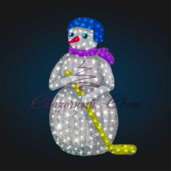 Светодиодный Снеговик Хоккеист в мишуре 3D GR 91-1 - Ш 1,40 м х В 2,10 м х Г 1,00 м 1