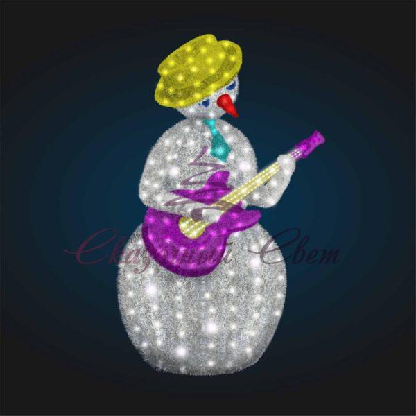Светодиодный Снеговик Гитарист в мишуре В 2,1 м х Ш 1,4 м х Г 1,1 м - 3D GR 91-2 1