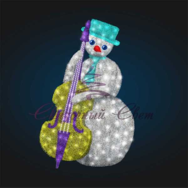 Светодиодный Снеговик Контрабасист в мишуре 3D GR 91-6 - Ш 1,40 м х В 2,10 м х Г 1,10 м 1
