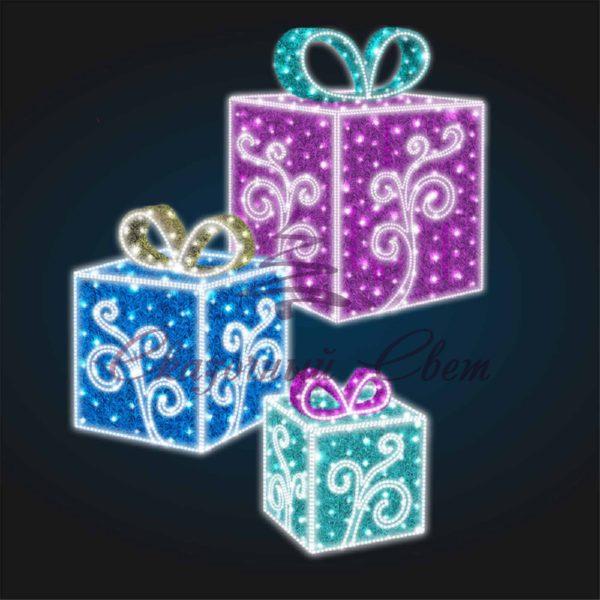 Световая композиция Новогодние Подарки из мишуры с Узором ( 75 см, 100см и 150 см) 3D SE 401 - В 1,80 м 1
