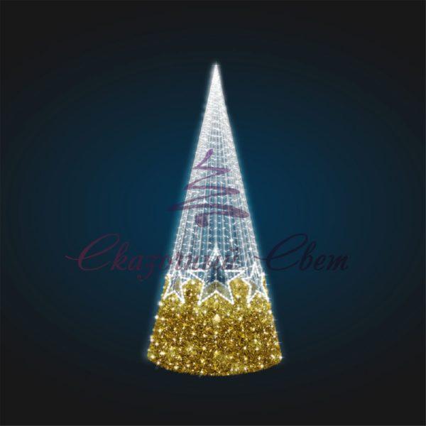 Светящаяся Конус-елка со звездами В 3,0 м х Ш 1,0 м х Г 1,0 м - 3D SE 45 1