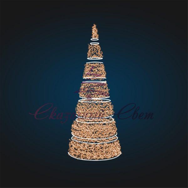 Сегментная новогодняя елка-конус В 5,0 м х Ш 1,8 м х Г 1,8 м - 3D SE 66 1