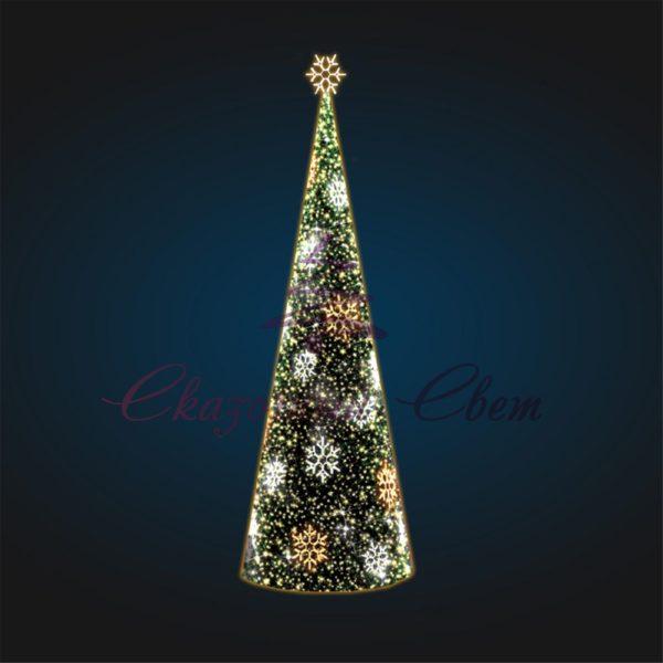 Каркасная елка со снежинками В 8,0 м х Ш 2,6 м х Г 2,6 м - 3D SE 69 1