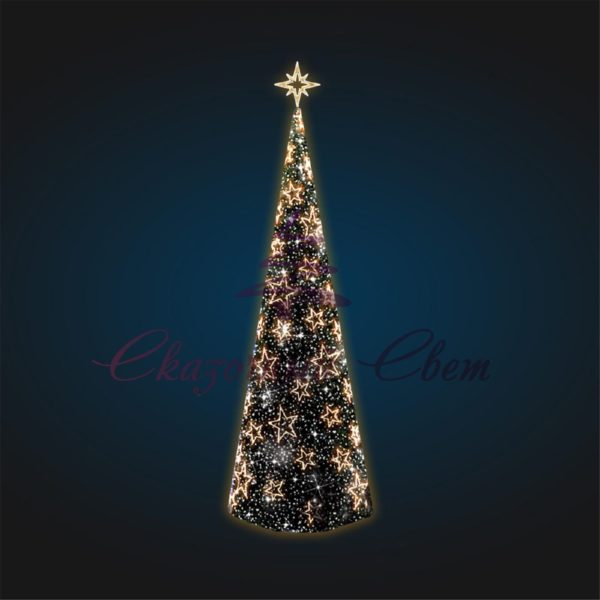 Конусная каркасная елка со звездами В 10,0 м х Ш 3,9 м х Г 3,9 м - 3D SE 71 1