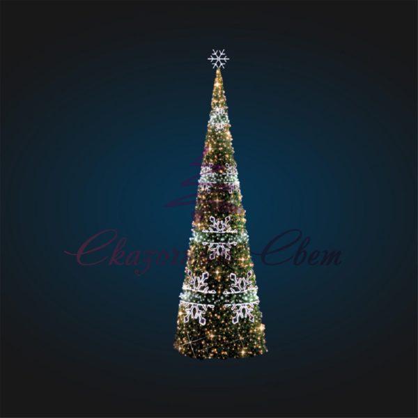 Новогодняя каркасная елка со снежинками В 7,0 м х Ш 2,5 м х Г 2,5 м - 3D SE 74 1
